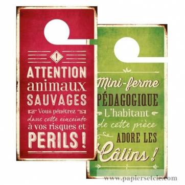"""Pancarte Panneau de Porte Humoristique """"Animaux sauvages"""""""