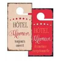 """Pancarte Panneau de Porte Humoristique """"Hôtel Maman"""""""