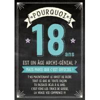 """Carte double Bon Anniversaire """"Pourquoi 18 ans?"""""""