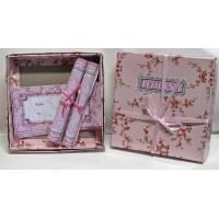 Coffret Papier à lettres fleuri rose