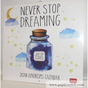"""Calendrier 2018 LEGAMI 30 x 30 """"Never stop dreaming"""""""