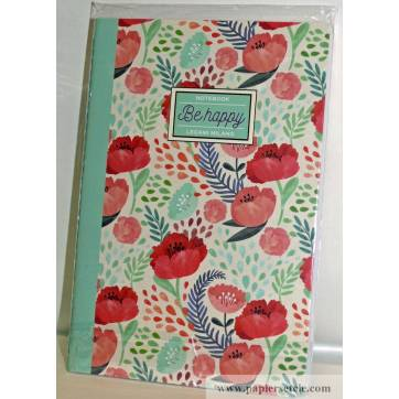 "Cahier LEGAMI B5 ""Be Happy"" Coquelicots 100 pages"