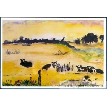 Carte Marion Kerignard Belle Ile Vaches dans champ
