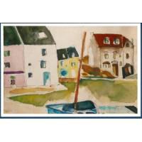 Carte Marion Kerignard Belle Ile Port de Sauzon et Bateau