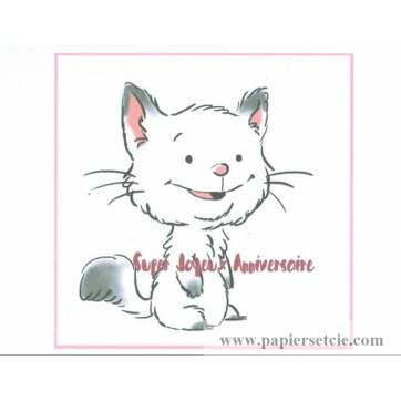 "Carte artisanale simple Chaton ""Super Joyeux Anniversaire"""