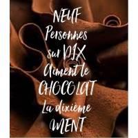 """Carte Chocolat """"Neuf personnes sur dix aiment le chocolat"""".."""