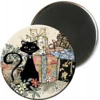 Magnet rond Chat et cadeaux