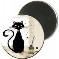 Magnet rond Chat et calligraphie