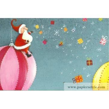 Carte Claire Vogel Père Noël sur boule géante