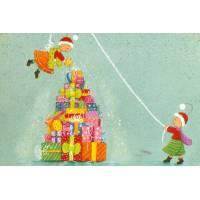 Carte Joyeux Noël Claire Vogel Les Elfes et la pile de cadeaux