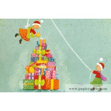 Carte Claire Vogel Les Elfes et la pile de cadeaux