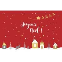 Carte double Joyeux Noël Village et Père Noël