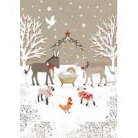 Carte double  pailletée Joyeux Noël La Crêche