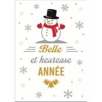 Grande carte Belle et Heureuse Année Bonhomme de neige