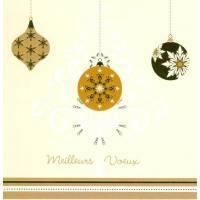 Carte  Meilleurs voeux les Boules beiges et dorées