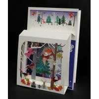 """Carte anglaise 3D laser """"Petite boite"""" Anges dans la Forêt"""