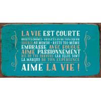 """Pancarte Panneau de Porte vintage """"La vie est courte..."""""""