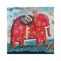 """Carte Izou """"Elephant rouge Birthday Tour"""""""