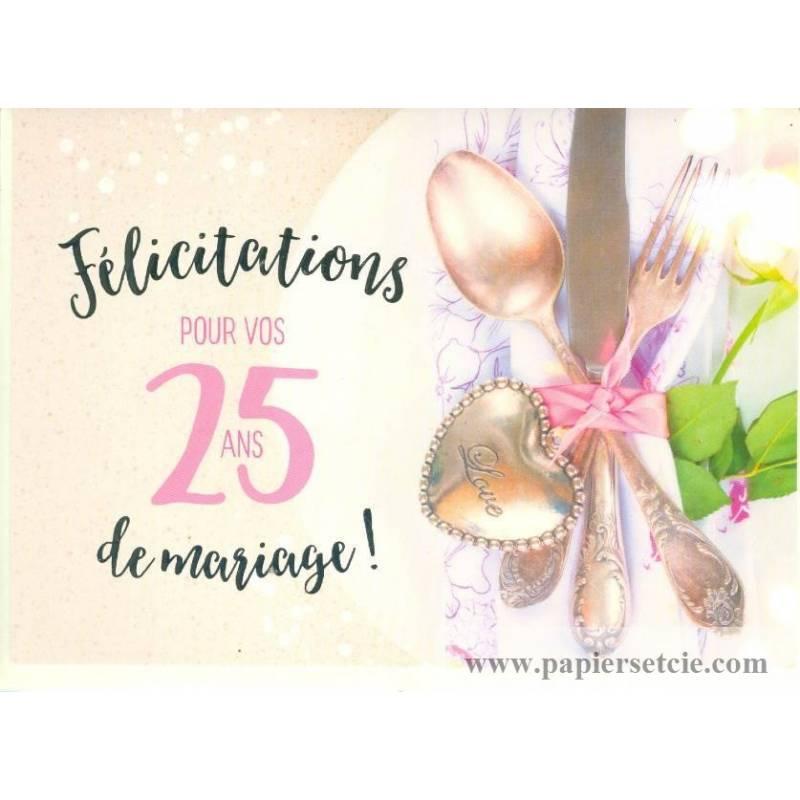 Carte Félicitations Pour Vos 25 Ans De Mariage