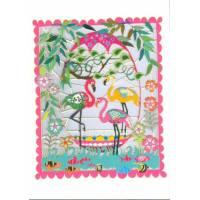 """Carte découpée au laser """"Folk Art"""" Flamingos"""