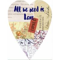 Carte artisanale Vintage Coeur All we need is Love