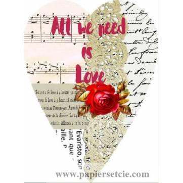 Carte artisanale Vintage Coeur All we need is Love rouge