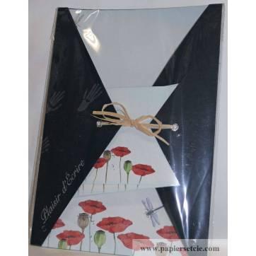 """Papier à lettre papier recyclé """"Maki Papier"""" coquelicots"""
