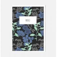"""Carte double Merci collection Rose Pivoine""""Fleurs bleues"""""""