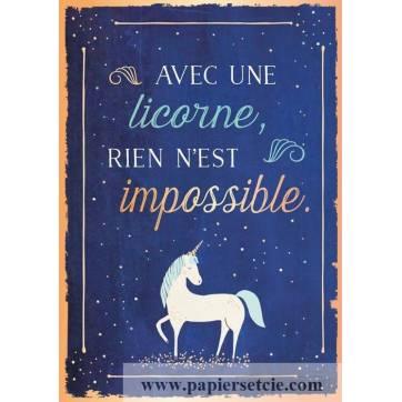 """Carte Citation Humour Vintage """"Avec une Licorne, rien n'est impossible"""""""