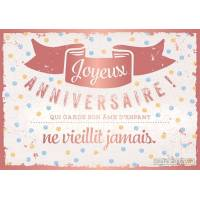 """Carte Citation Vintage Joyeux Anniversaire """"Qui garde son âme"""""""