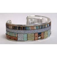Bracelet Manchette en laiton argenté 2 cm Patchwork cordons bleus