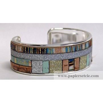 Bracelet Manchette en laiton argenté 3 cm Patchwork cordons bleus