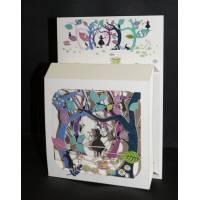 """Carte anglaise 3D laser """"Petite boite"""" Alice au Pays des Merveilles"""