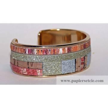 Bracelet Manchette en laiton doré 2 cm Patchwork cordons bruns et dorés