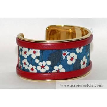 Bracelet Manchette en laiton doré 3 cm, tissu Liberty Mitsi