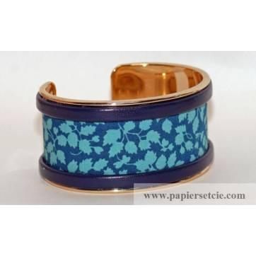 Bracelet Manchette en laiton doré 3 cm, tissu Liberty Glenjade turquoise