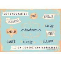 """Carte Citation Joyeux Anniversaire """"Je te souhaite joie, courage, satisfaction.."""""""