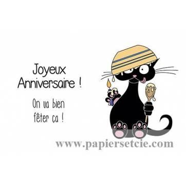 """Carte humoristique simple Pickled cat Joyeux Anniversaire, """"On va bien fêter ça"""""""