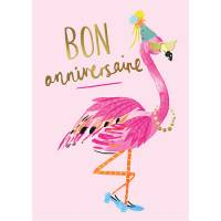 "Carte double Louise Tiler Bon Anniversaire ""Flamingos"""