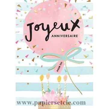 Carte Louise Tiler Joyeux Anniversaire Pour Toi Ballon Et Fleurs