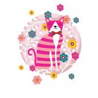 Carte découpée au laser Chat tigré rose