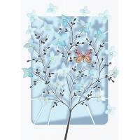 Carte découpée au laser Arbre bleu et Papillons