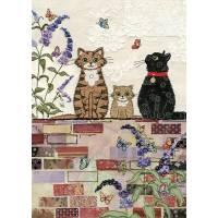 Carte double Famille chat sur muret fleuri