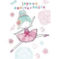 "Carte anglaise ""Joyeux Anniversaire"" Petite Ballerine"