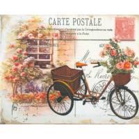 "Carte artisanale Vintage ""Bicyclette fleurie"""
