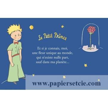 """Carte Citation Le Petit Prince dorée """"Et si je connais moi, une fleur unique au monde"""""""