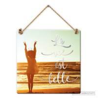 """Pancarte Panneau de Porte Humoristique """"La Vie est belle"""""""