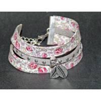 Bracelet Liberty Manchette Biais Liberty Eloïse rose