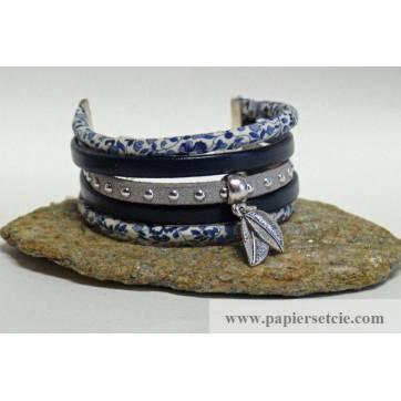 Bracelet Manchette Liberty Cordon Liberty Fines Fleurs bleues