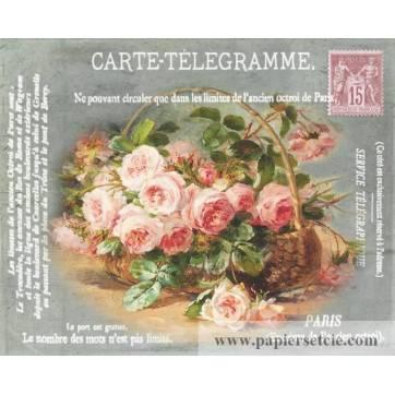 """Carte artisanale Vintage """"Panier de Roses"""""""